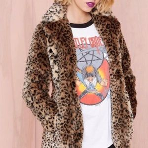 Nasty gal cat skills faux fur leopard jacket sz S